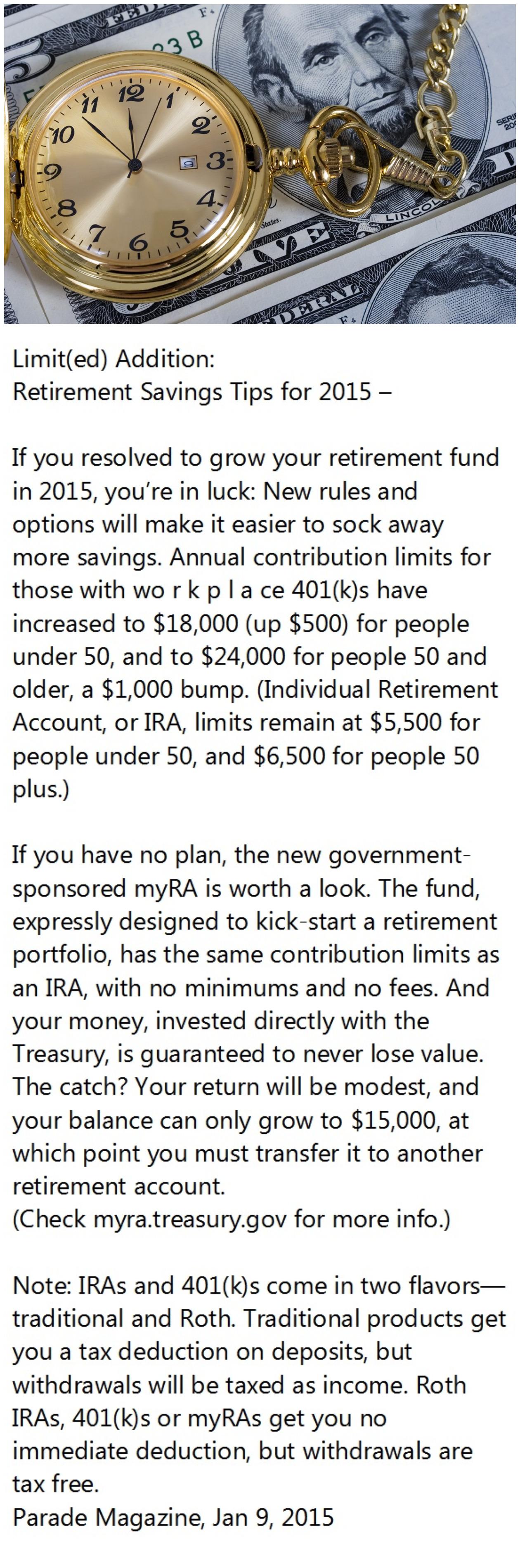 Retirement Savings Tips for 2015