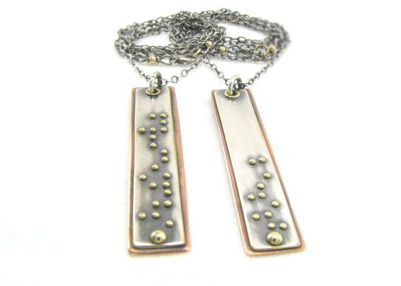 Best Friends Necklace Set Braille Pendants Best by Cuprum29 12000