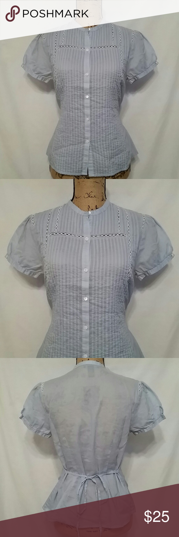 Lucky Brand blouse Detailed button up top, ties in the back Lucky Brand Tops Button Down Shirts