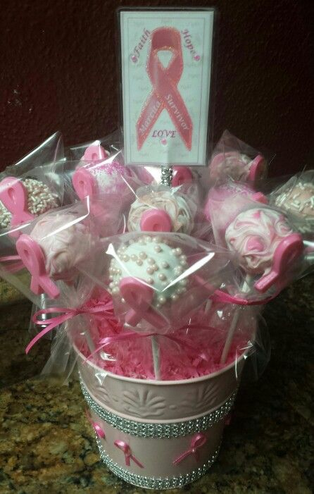 Breast Cancer Cake Pop Bouquet #cakepopbouquet