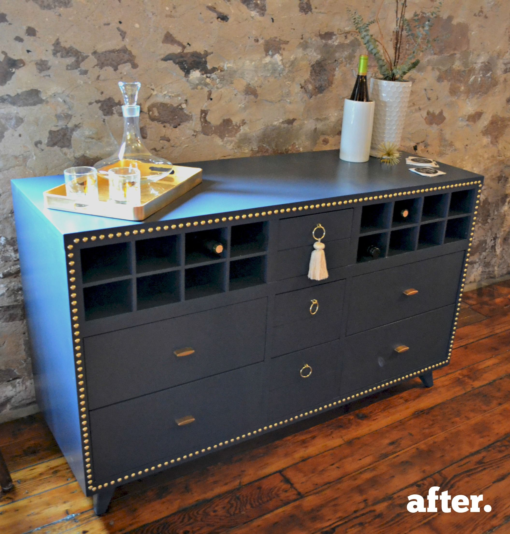 Recycled Dresser Made Into Dining Room Buffet With Wine Storage Curio Design Studio Online