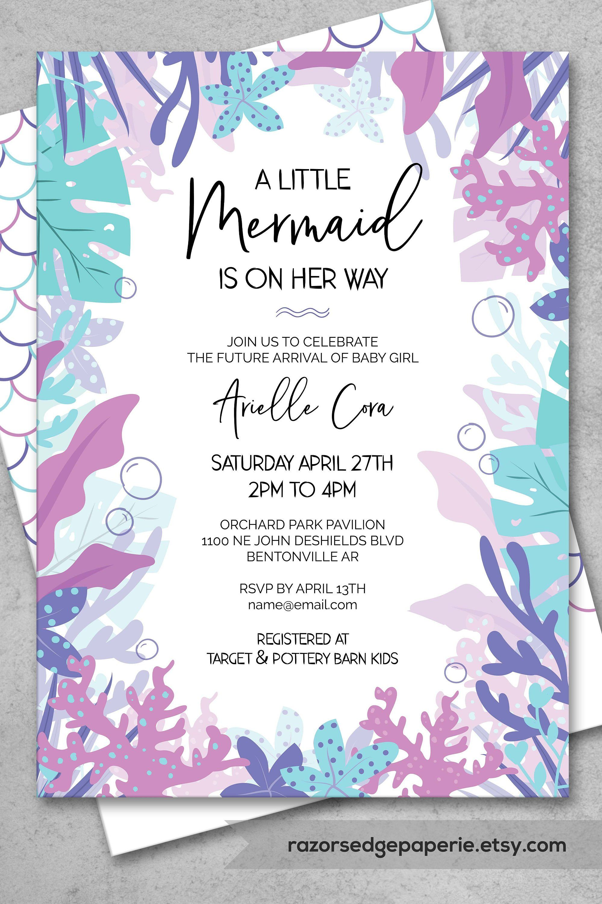 picture relating to Printable Baby Shower Invitations Girl referred to as PRINTABLE Mermaid Little one Shower Invitation Female Prompt