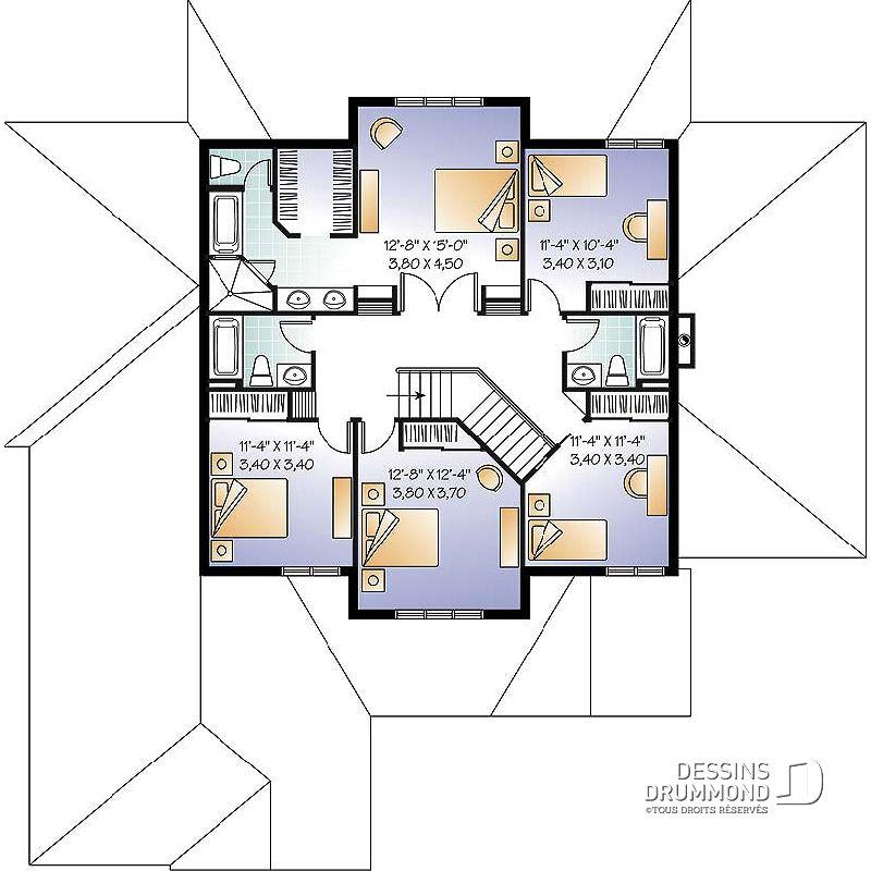 Étage du plan de maison unifamiliale W3619 architecture moderne