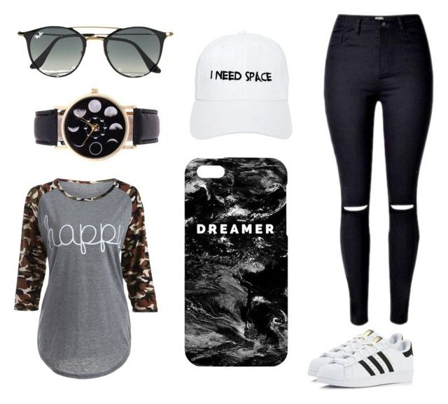 """Black"" by yesgodoi ❤ liked on Polyvore featuring adidas, Ray-Ban, Nasaseasons and Mr. Gugu & Miss Go"