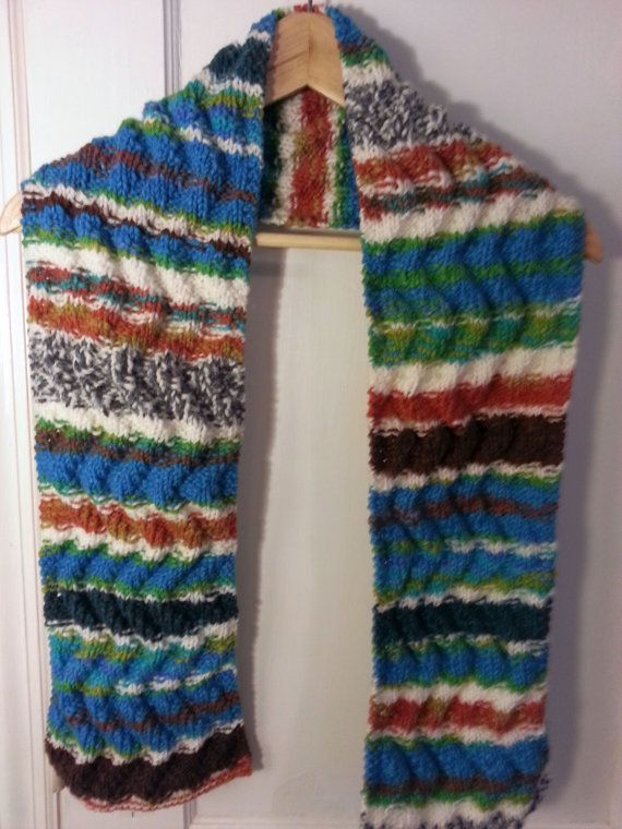 Knit Meandering Waters Striped Scarf by jeanne2beanie on ...