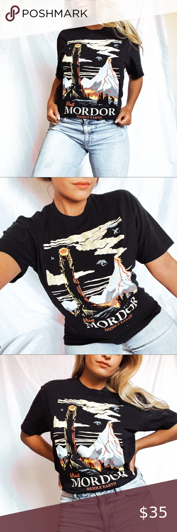 Mordor Official Lotr Tee In 2020 Vintage Tops Clothes Design Fashion