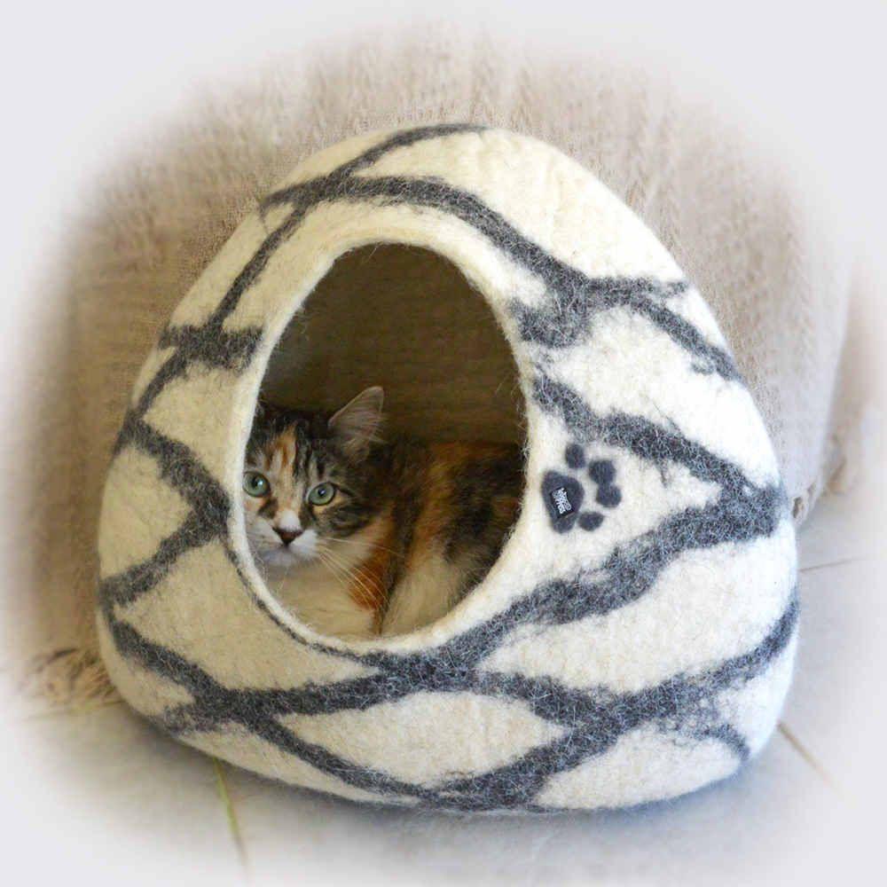 Igloo Cat House Felt Cat Cave White W Black Linear Design Pet
