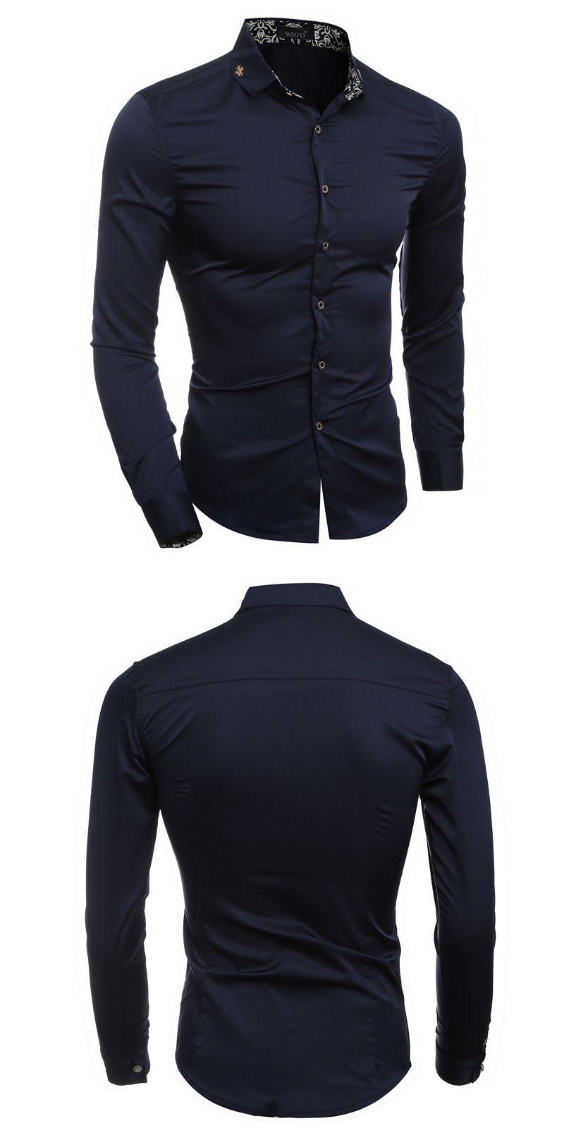 High quality new fashion men dress shirt slim fit printed
