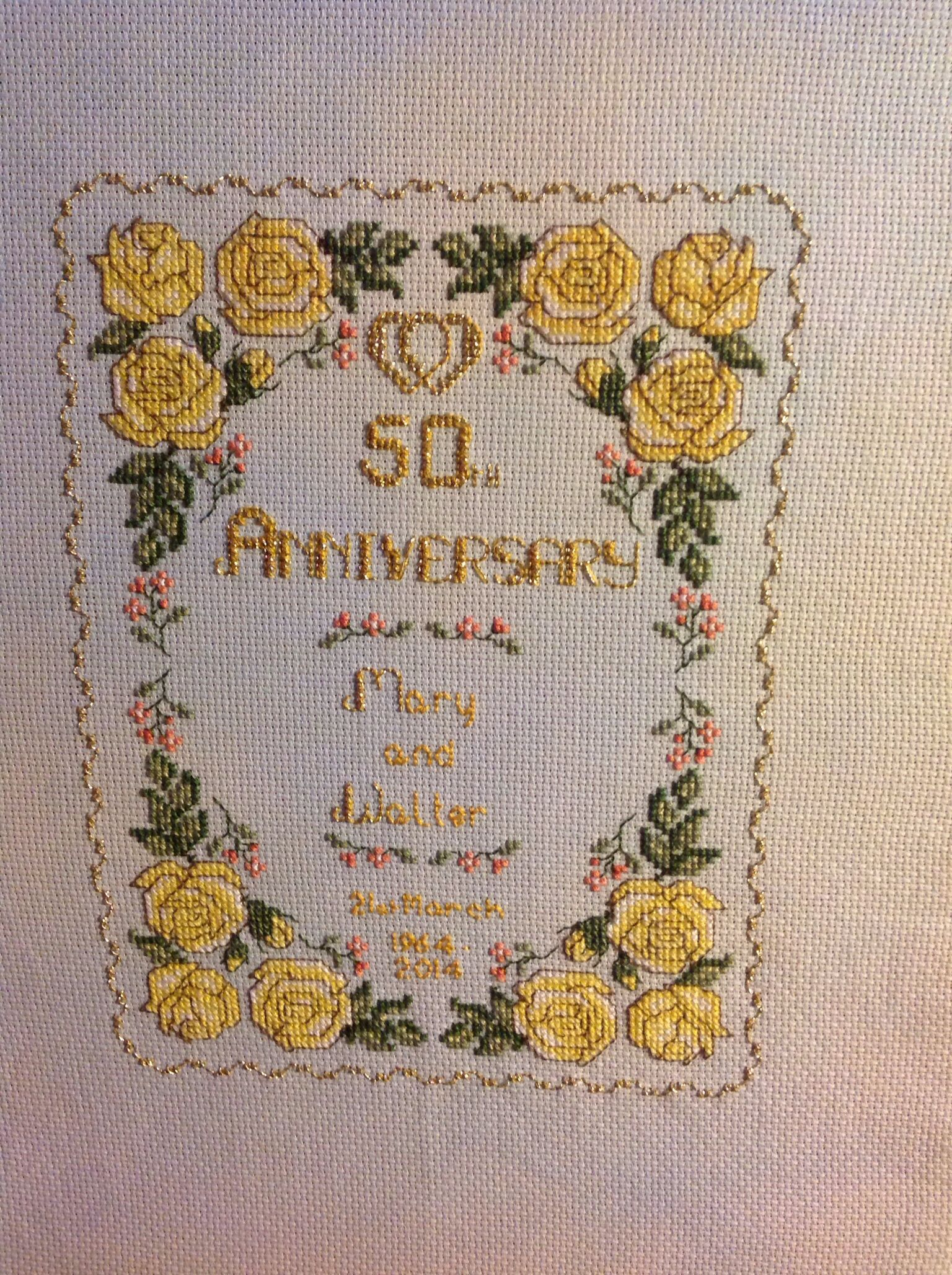 Walter and mary s golden wedding sampler cross stitch