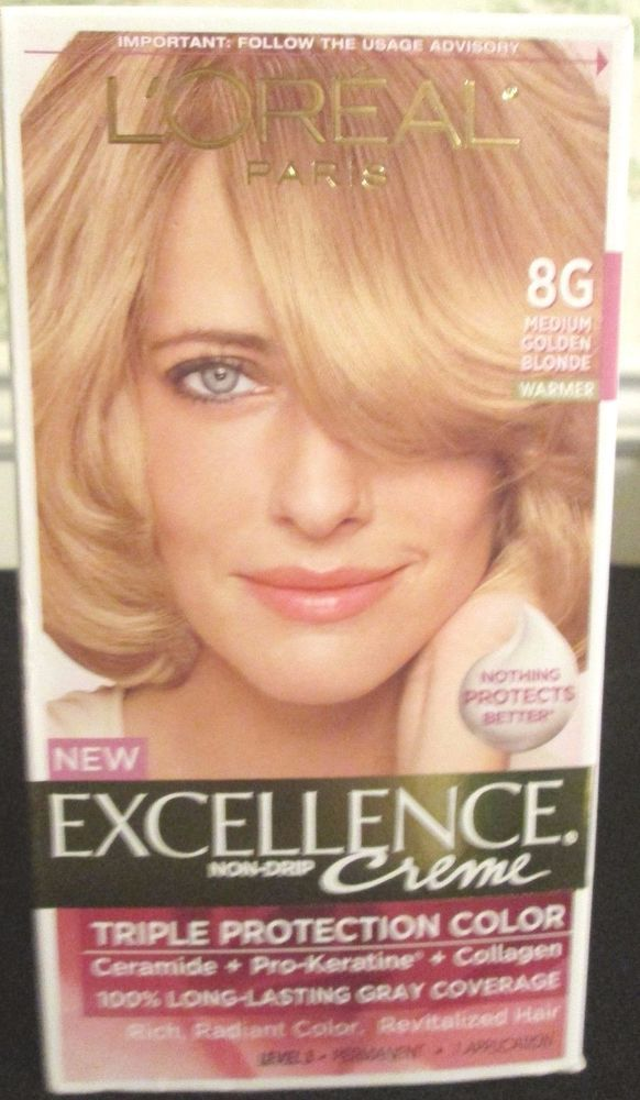 Hair Color Loreal 8g Medium Golden Blonde Excellence Permanent 1