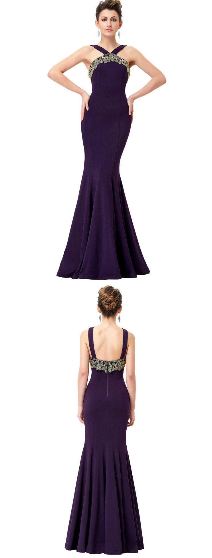 Mermaid halter floorlength satin purple long prom dresses