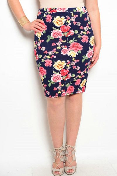 Navy Blue Floral Pencil Skirt -Plus Size | Skirts, Navy blue and ...
