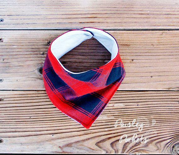 Red and black plaid bandana bib by PaisleyPockets on Etsy
