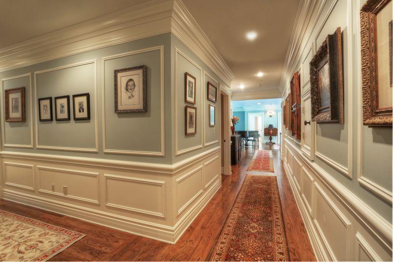 Traditional Hallway With Wainscoting, Crown Molding, Hardwood Floors, Chair  Rail, Cm