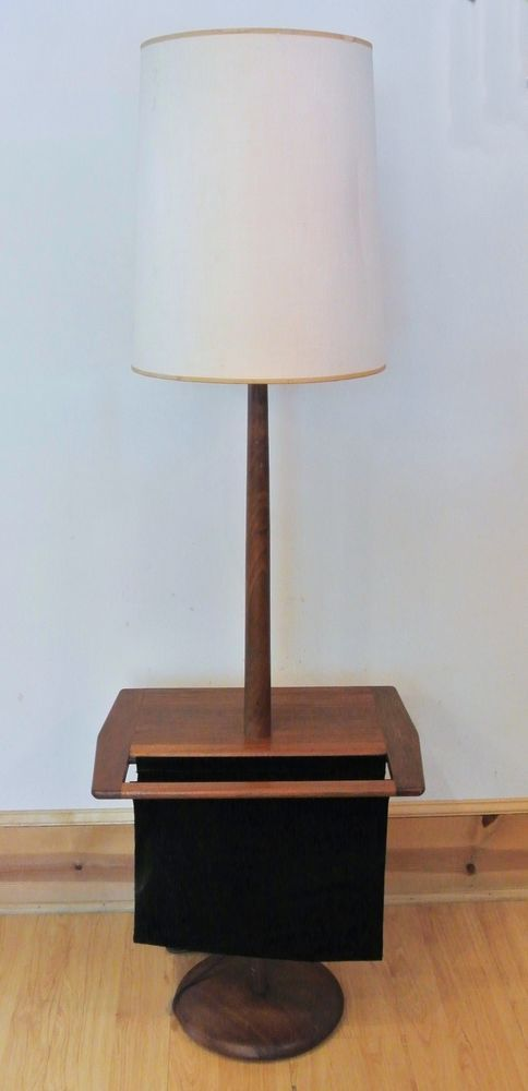 Laurel mid century teak floor lamp w table suede magazine holder laurel mid century teak floor lamp w table suede magazine holder vtg c1960s aloadofball Gallery