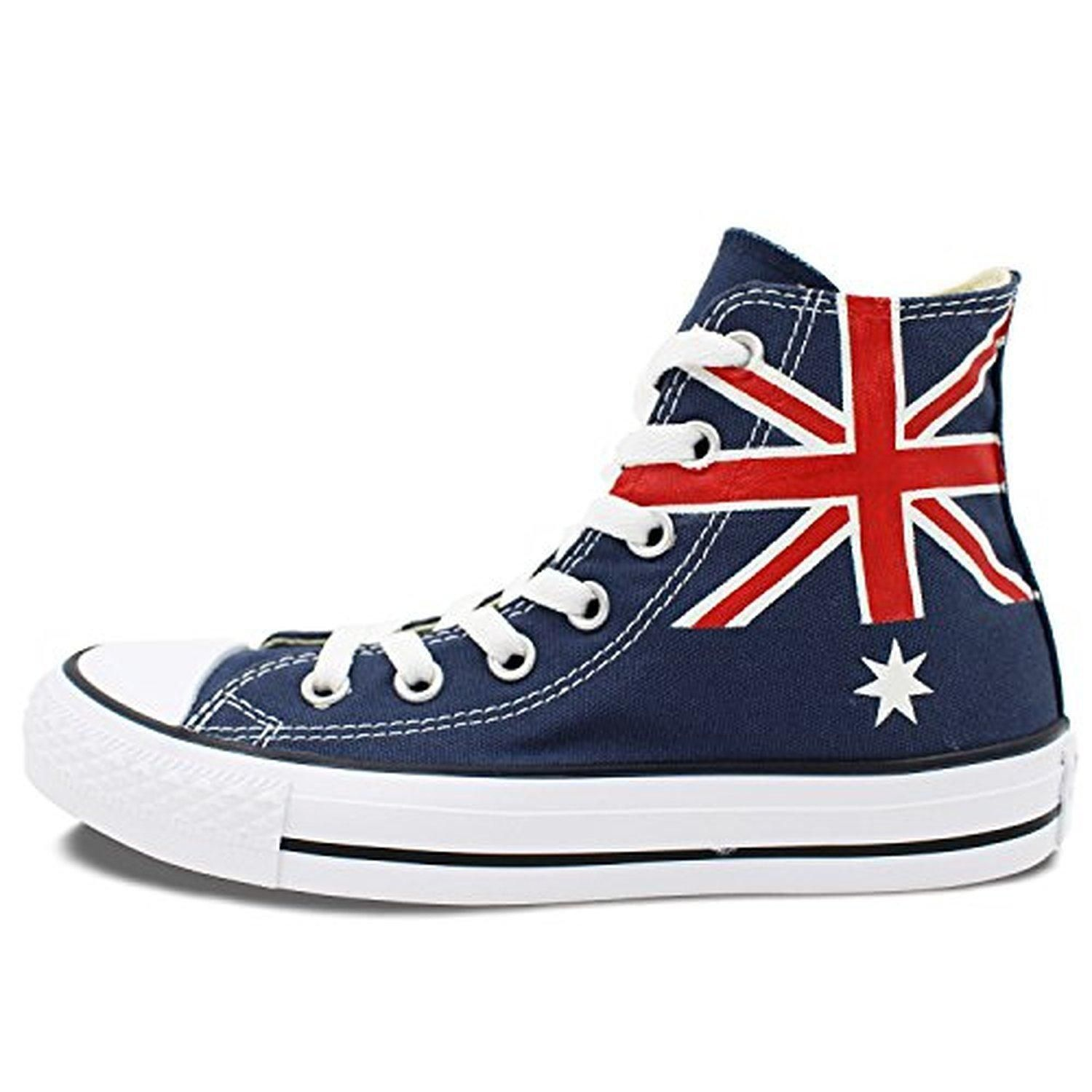 Wen's Studio Washable Hand Painted Converse Shoes Australia Flag High Top Canvas Sneaker - Brought to you by Avarsha.com