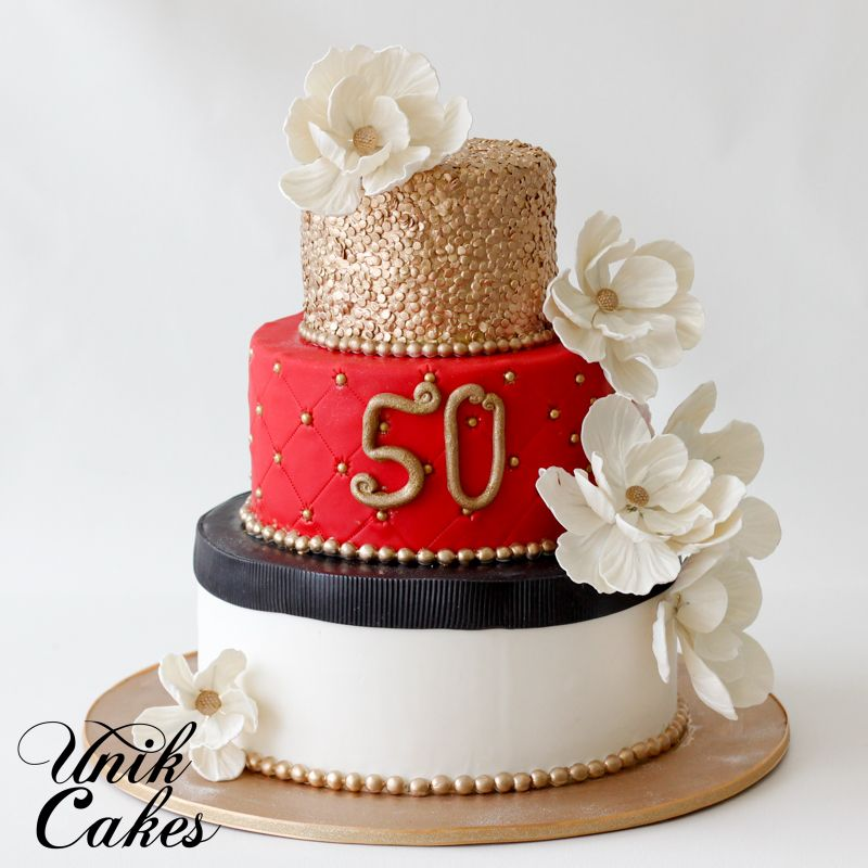 Gold black and red 50th birthday cake Ladies Cakes Pinterest