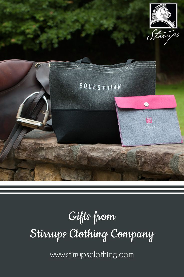 "Equestrian Gifts - Felt ""Equestrian"" tote and our ""Classic Horse Head"" Logo tablet sleeve. Find these and other great gifts from Stirrups Clothing at your local tack shop. www.stirrupsclothing.com"
