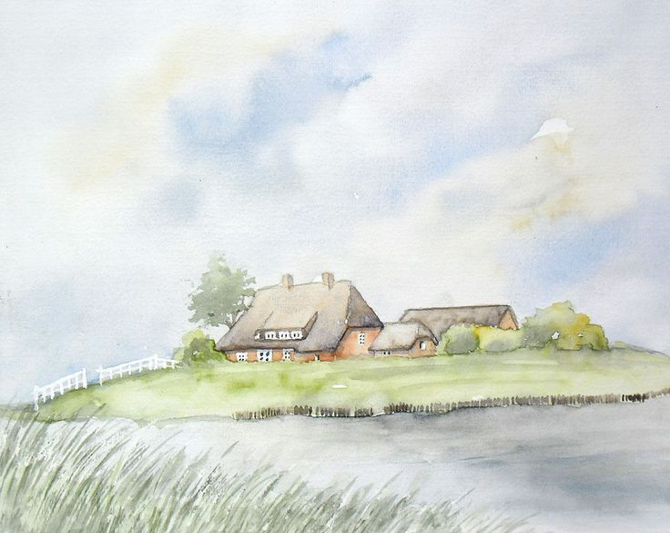 Hallig Hooge Aquarell Original 24 x 30 cm in 2020