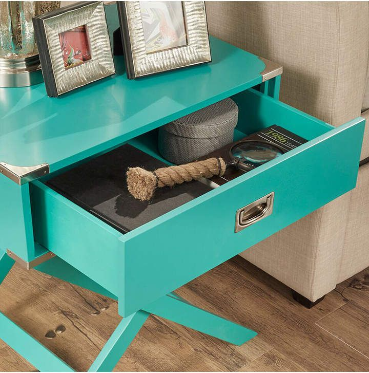 This Little Table Is A Perfect Marine Green Accent Table For Your