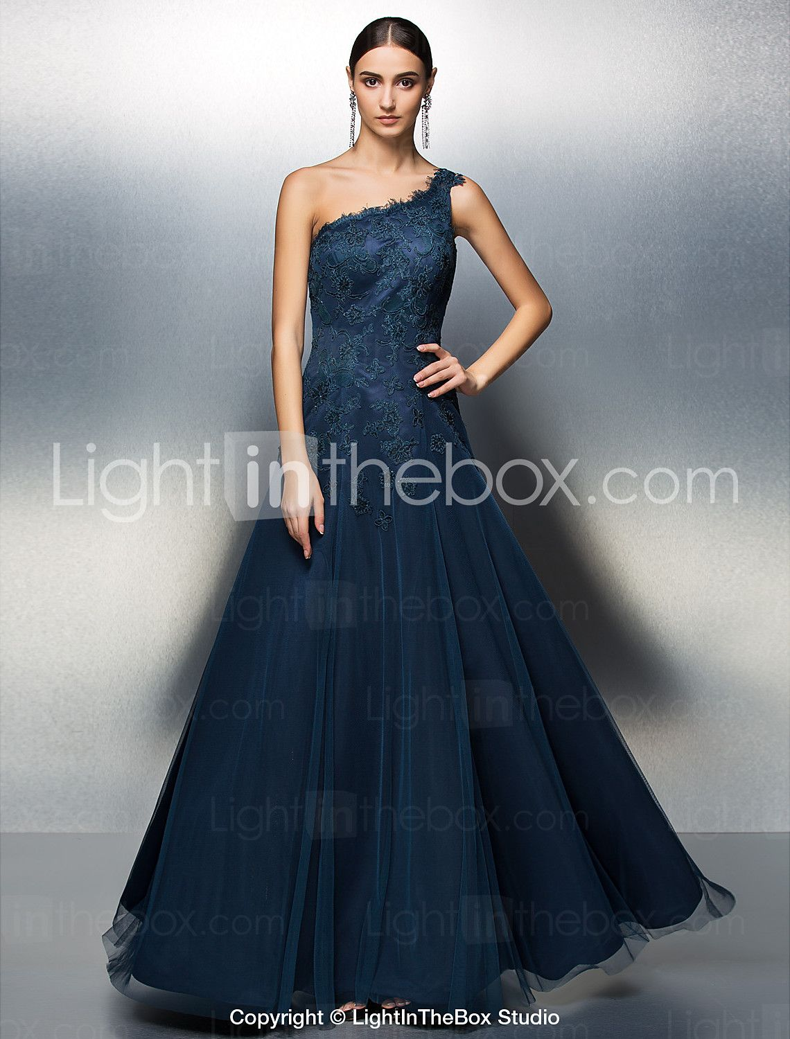 Aline one shoulder floor length tulle beaded lace cocktail party