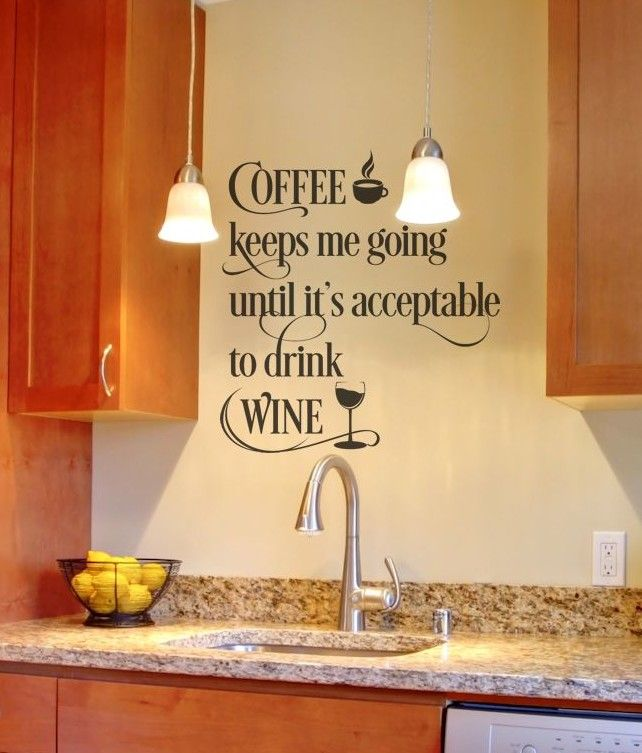 Wall Decals - Kitchen - Coffee and Wine Quote | Kitchen wall decals ...