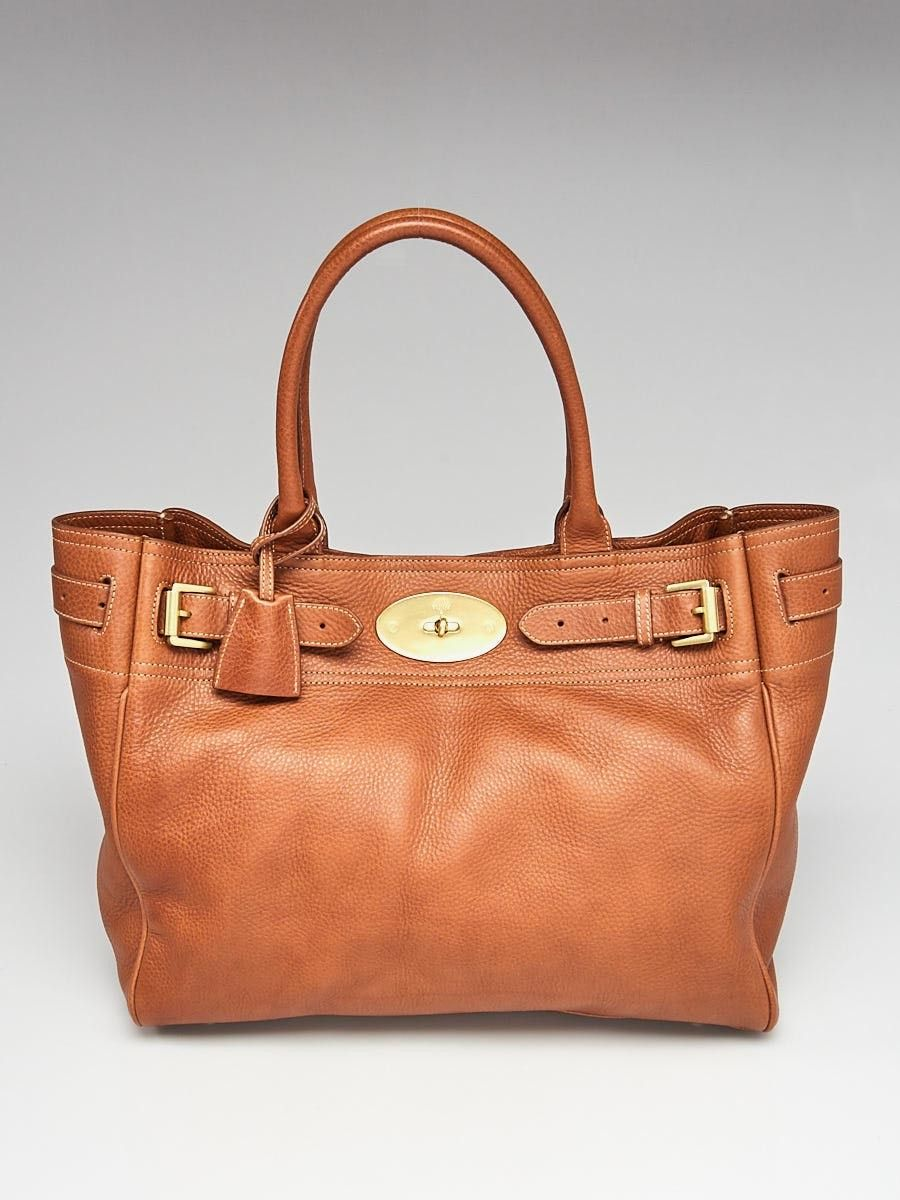 62686e7594 Mulberry Oak Brown Natural Leather Bayswater Tote Bag - Yoogi s Closet