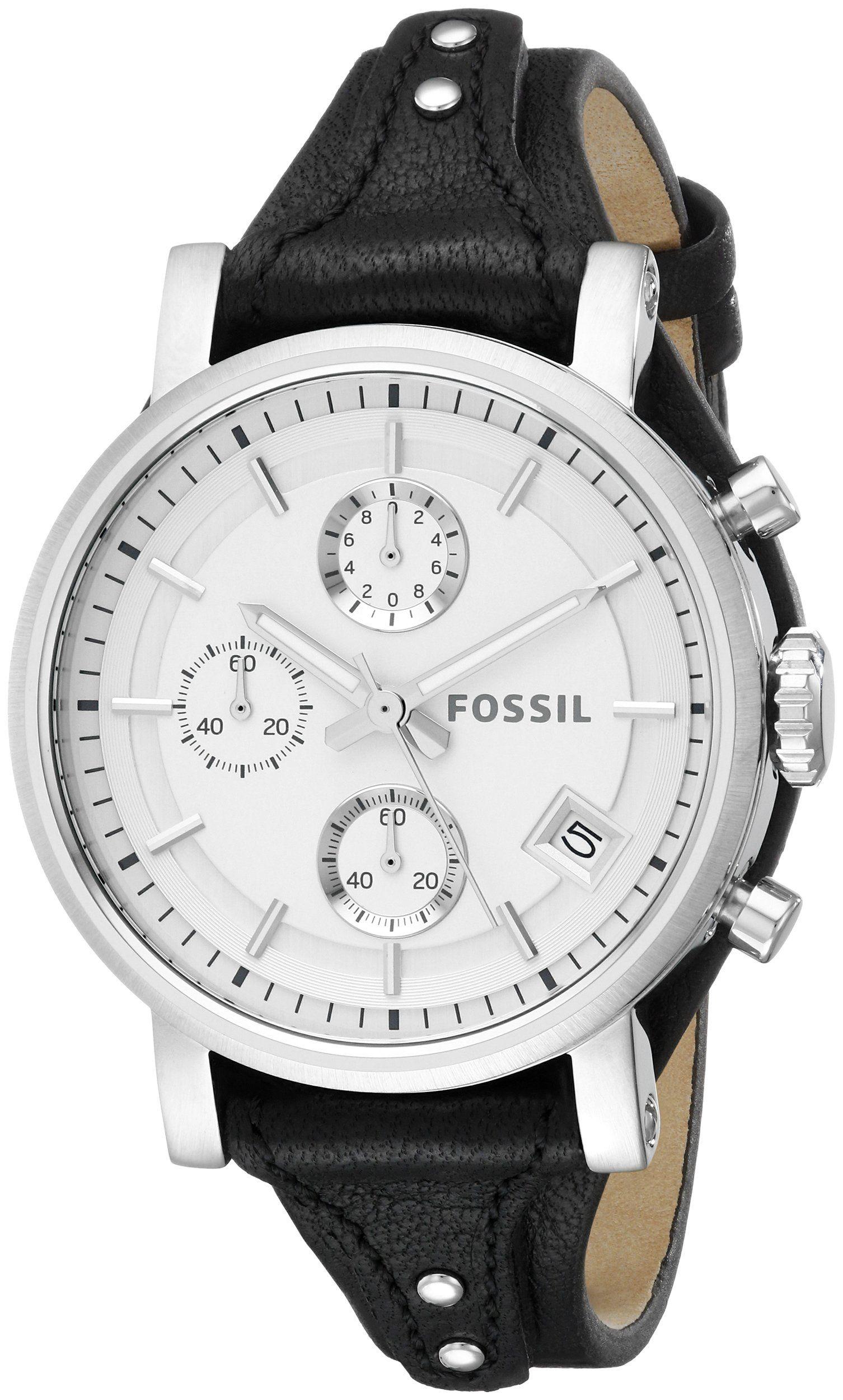 Amazon Com Fossil Women S Es3817 Original Boyfriend Analog Display Analog Quartz Black Watch Watches Fossil Watches Women Leather Watch Leather
