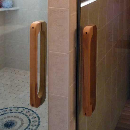 Sauna steamroom back to back wooden door handles office for Wooden rear doors