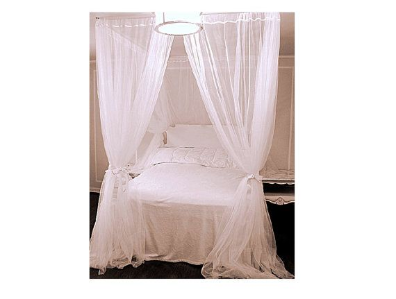White Custom Bed Canopy With Chiffon Curtains Four Poster Bed Canopy Bedroom Curtains Sheer Princess Drapes White Drapery Panel Home Decor White King Size Bed White Sheer Curtains Queen Size Bedding