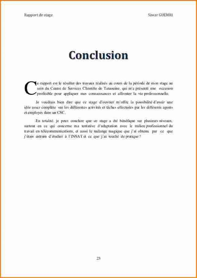 12 Conclusion Rapport De Stage Gouvernoratmaniema Plan Dissertation Exemple