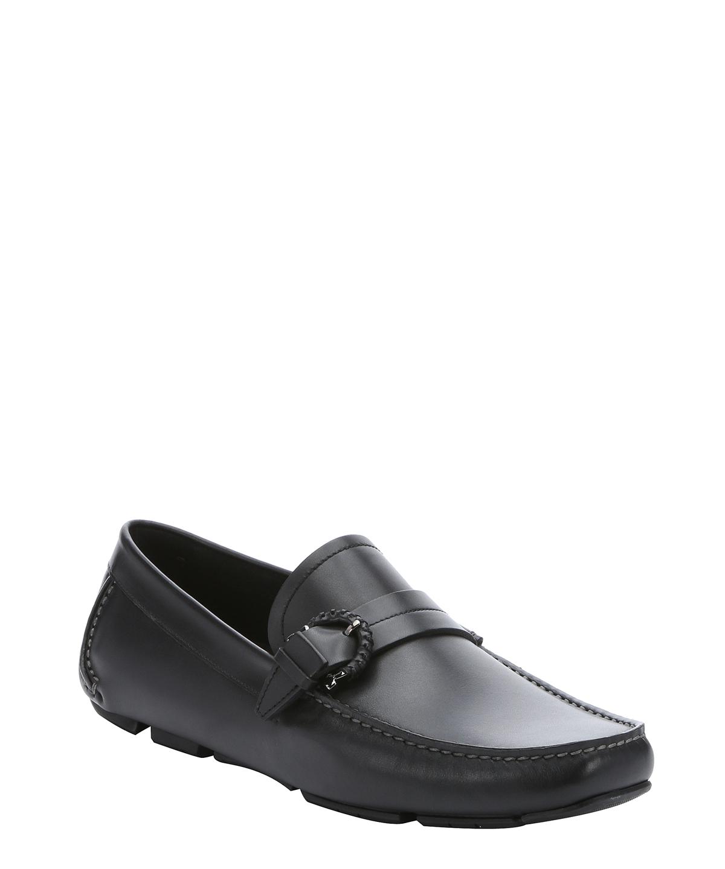 12cfef65f0c SALVATORE FERRAGAMO Black Calfskin  Nuxy  Gancio Buckle Detail Driving  Loafers.  salvatoreferragamo
