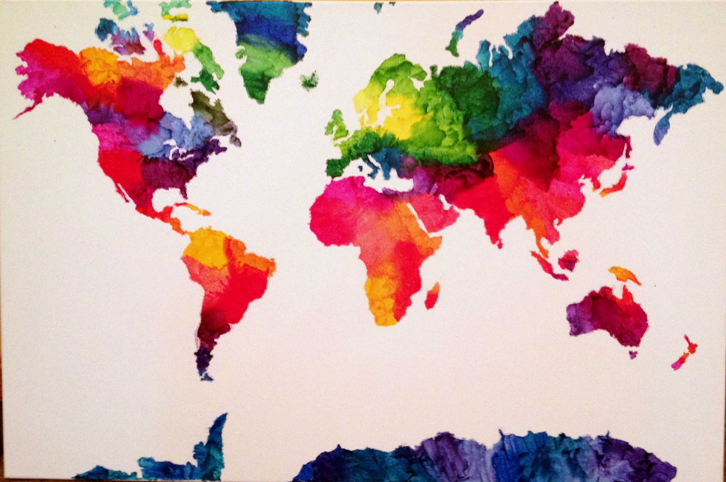 Geography has never been this fun melted crayons crayons and melted crayon world map gumiabroncs Images