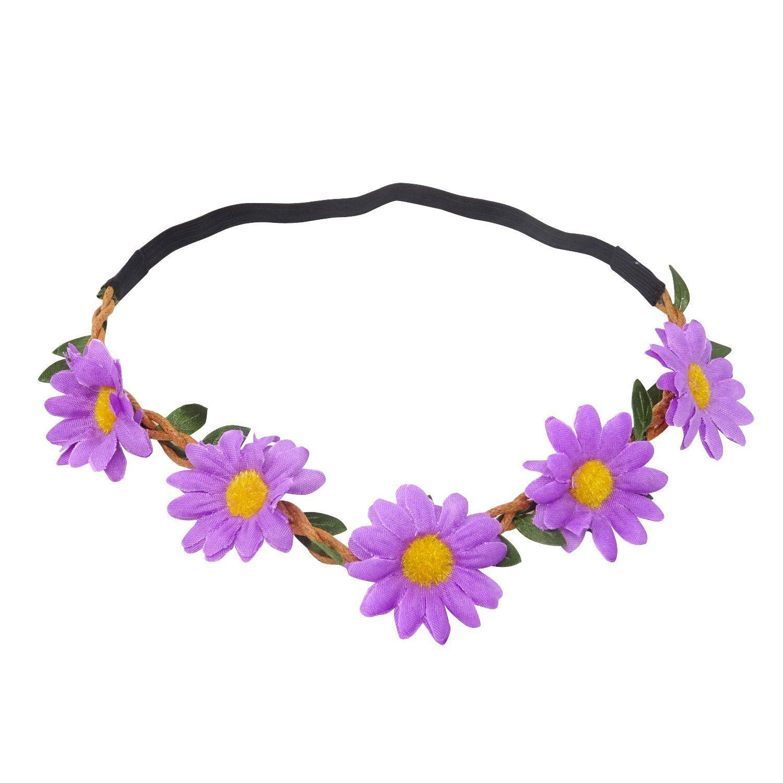 Honbay 5pcs Daisy Flower Headband Bohemian Flower Crown Floral
