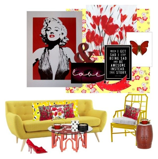 """Marilyn Monroe and the Yellow Mid Century Love Seat..."" by kimberlyd-2 ❤ liked on Polyvore featuring interior, interiors, interior design, home, home decor, interior decorating, Amara, Oliver Gal Artist Co., Privilege and Madison"