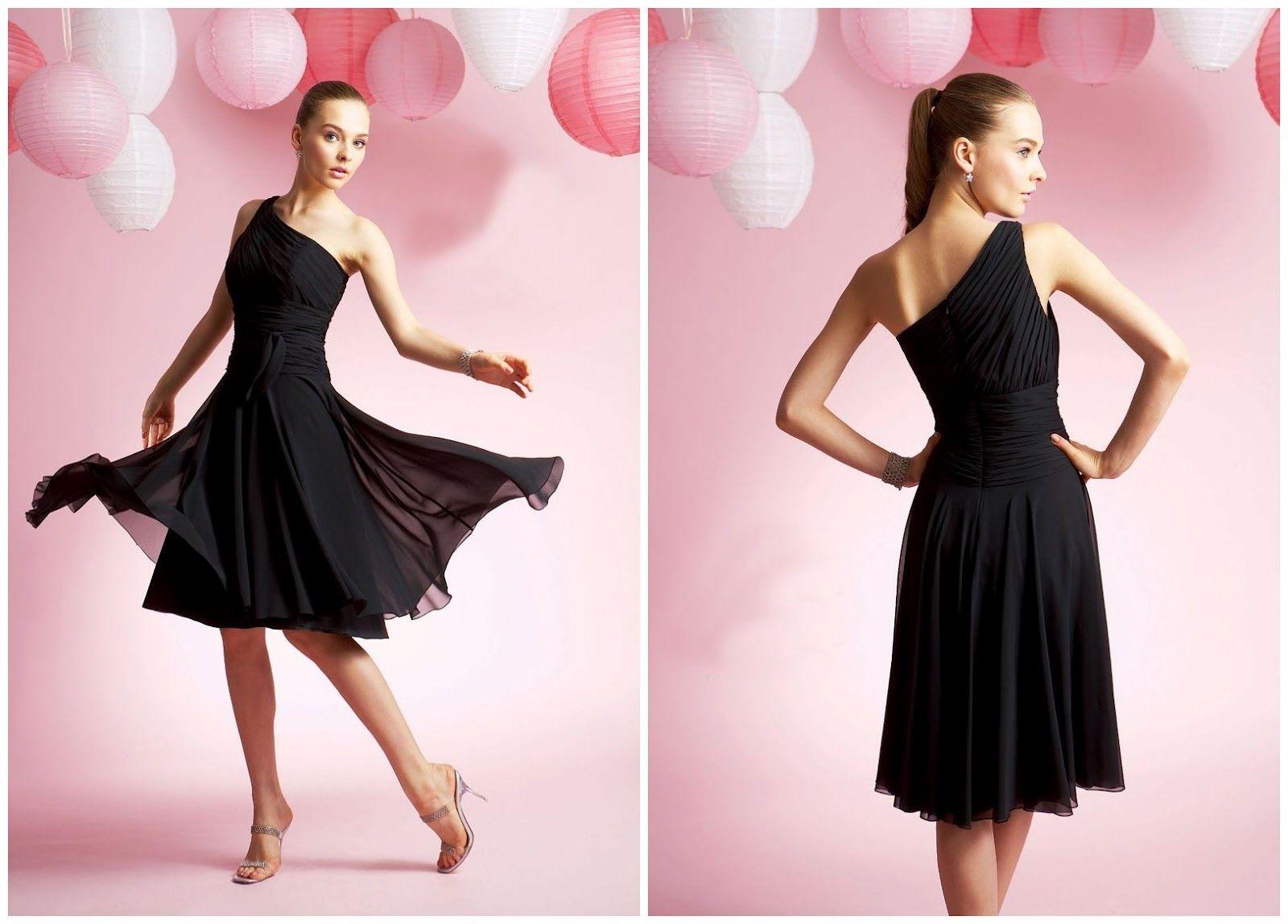 Little black dress for wedding party  WhiteAzalea Bridesmaid Dresses  Black One Shoulder Knee Length  My