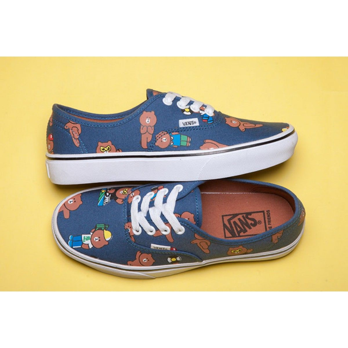 45350afa96 Line Friends x Vans Brown Bear Blue Authentic Skateboard Shoes  Vans ...