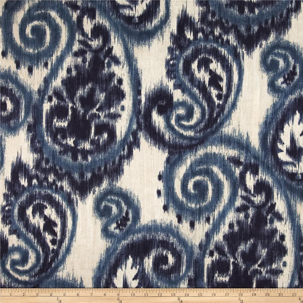 Discount outdoor fabric by the yard - Sorista Indigo Blue Ikat Paisley Floral Indoor Outdoor Fabric By Richloom Fabrics Fabric By The Yard At Discount Prices