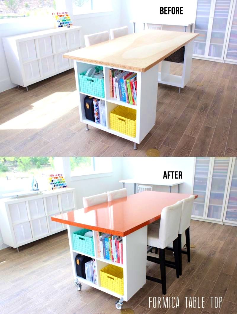 Bathroom Knockout Craft Tables Large Folding Table Before And After Diy Building New The Formica Made Ev Sewing Room Design Craft Room Tables Craft Room Design