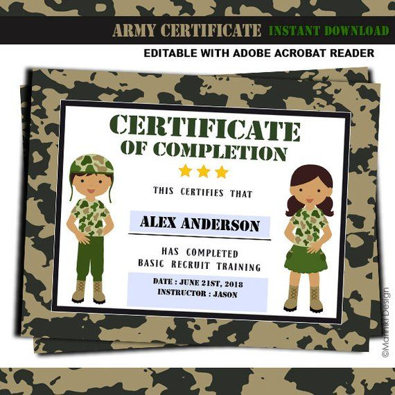 Army Printables, Army Training Certificate, Training Military Boot