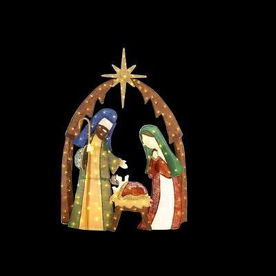 Christmas Nativity Scene Burlap LED Lighted Outdoor Garden Yard Xmas ...