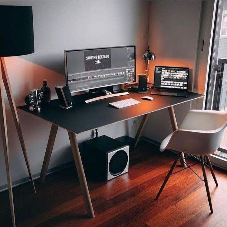 17 Outstanding Computer Desk Ideas Space Saving Home Office Design Home Office Setup Workspace Design