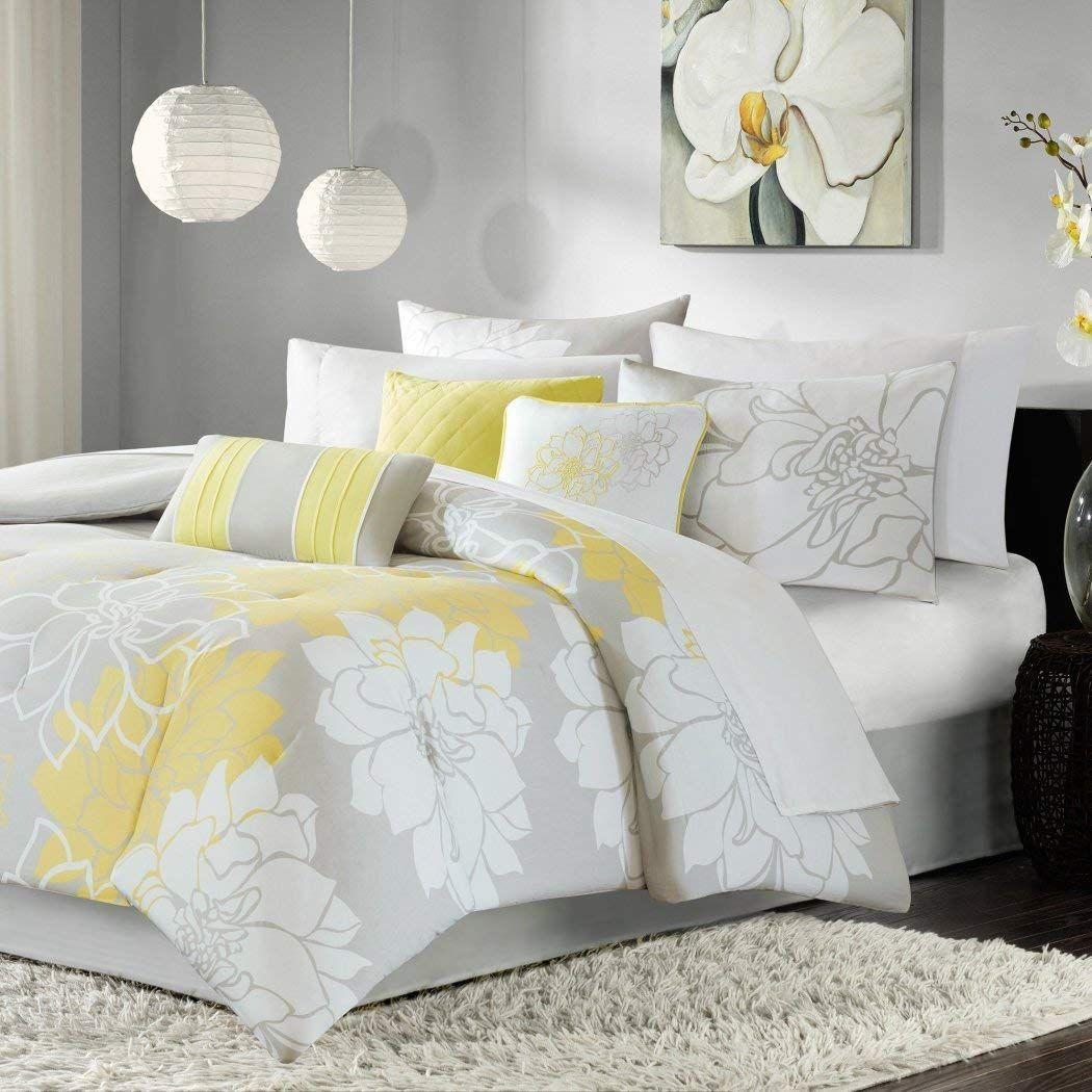Dp 7pc Yellow Floral King Cal King Size Comforter Set Grey