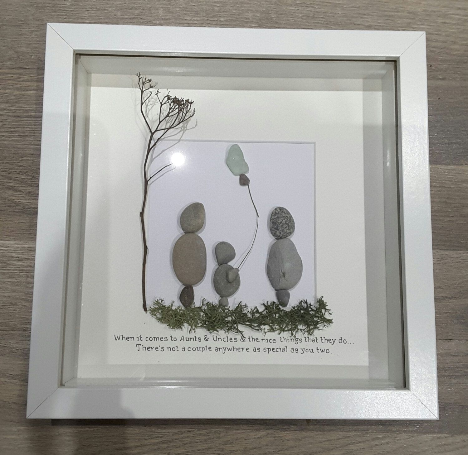 Personalized gift, family frame, family tree, pebble art, aunt gift ...