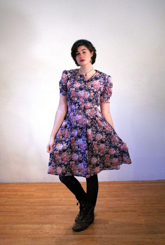 36c913f02c 80s Floral Dress M