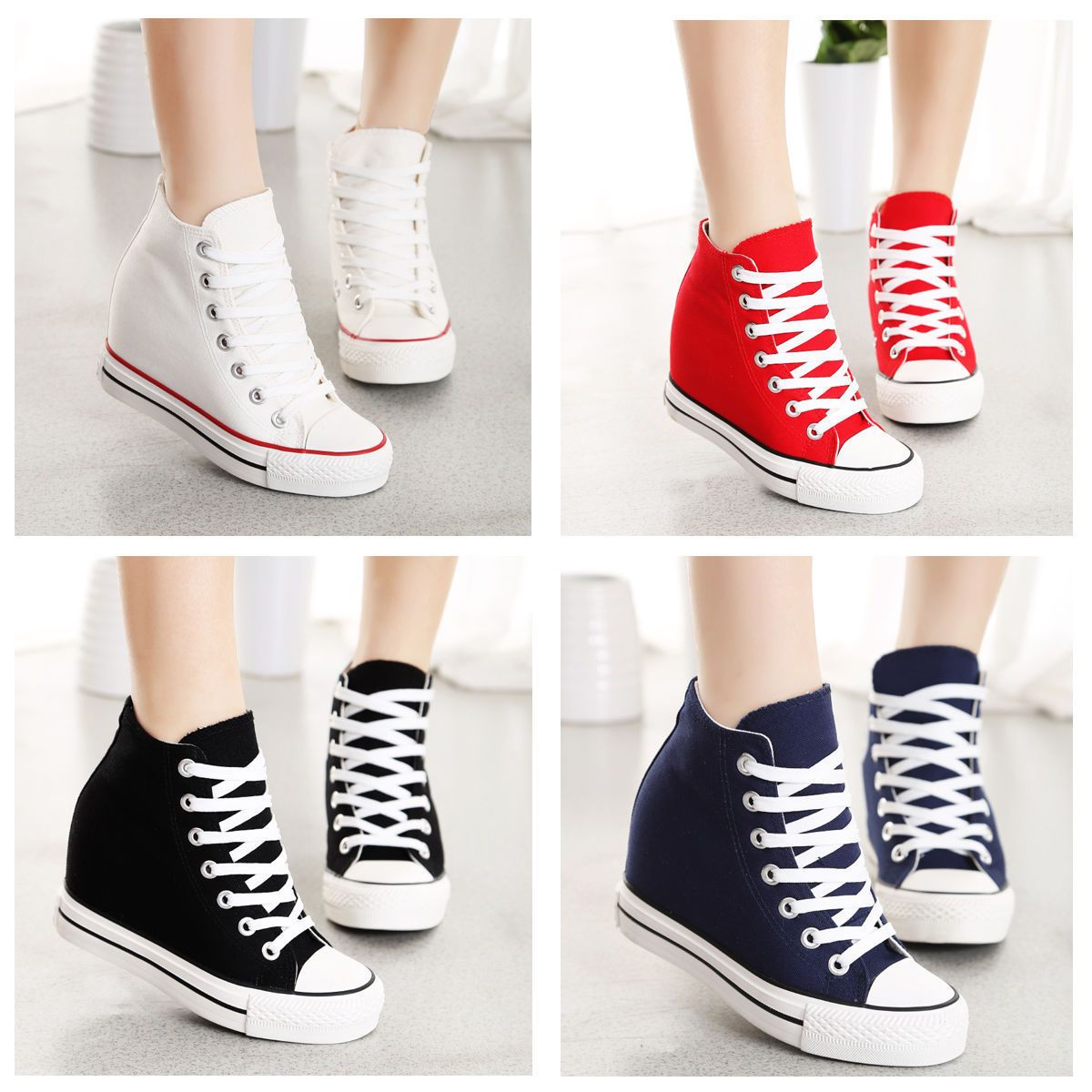 ab0c6d36402427 Classic Womens Canvas Lace Up Hidden Wedge High Top Sneakers Athletic Shoes  6-8