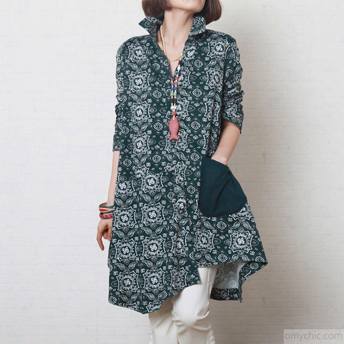Vintage floral sundress  blacksih green cotton summer dress plus size