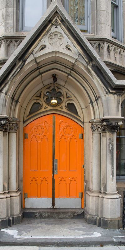 Bright Orange Church Door
