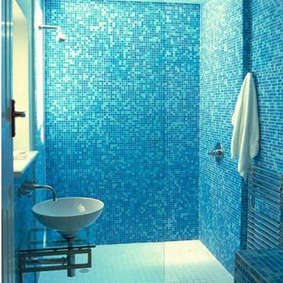 Blue Shower Room White Bathroom Decor Small Bathroom
