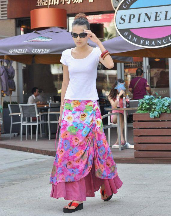Pink Boho Skirt Romantic Double-layer Skirt Printing Long Maxi Skirt Summer Skirt for Women - NC071. $74.99, via Etsy. (Sophiaclothing)
